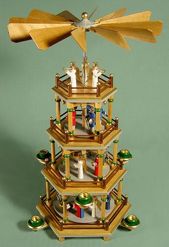 Christmas German Pyramid Angels Protecting 4 Level