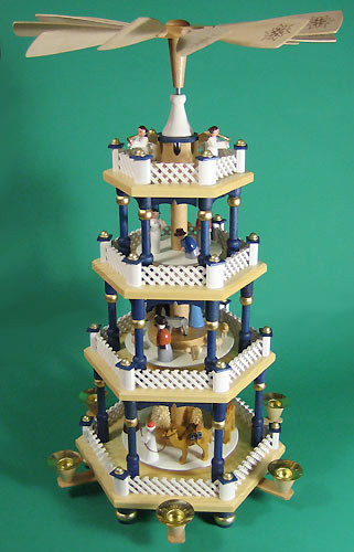 Christmas German Pyramid German Blue White 4 Level
