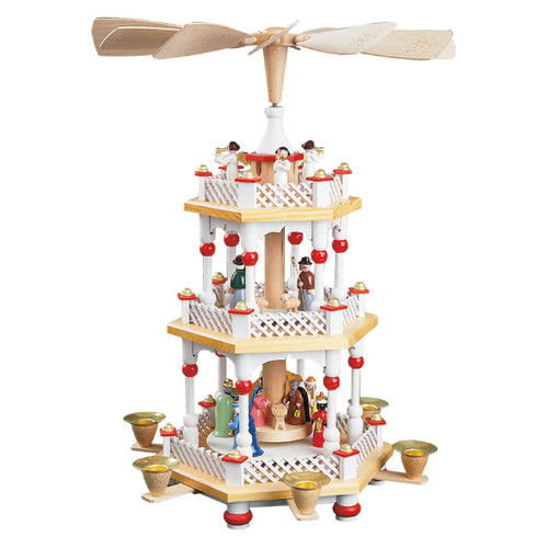Christmas Pyramid German White Red 3 Level