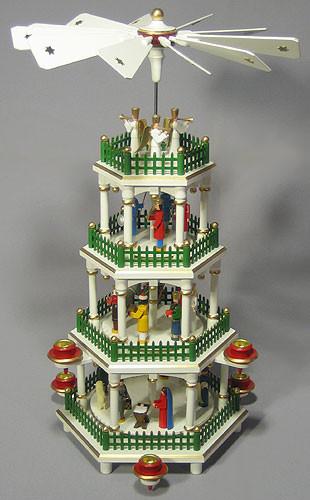 Christmas German Pyramid Painted Figurine 4 Level