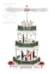 Christmas German Pyramid White Color Carousel 3 Level