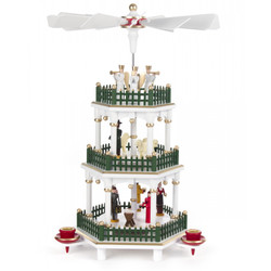 Christmas German Pyramid White Color Carousel 3 Level PYD085X059