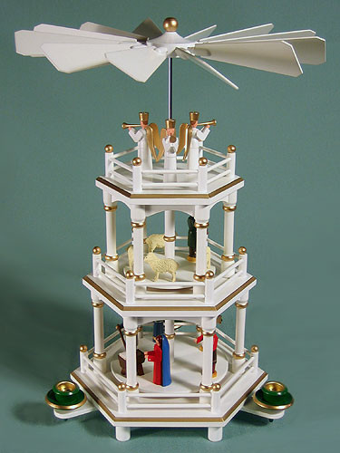 Christmas German Pyramid White Gold Carousel 3 Level
