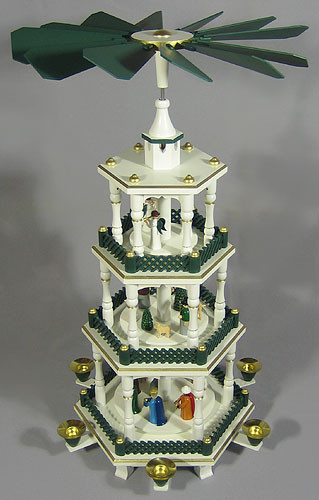 Christmas German Pyramid White Green Nativity 4 Levels