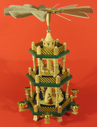 Nativity Christmas German Pyramid Green Accents 3 Level