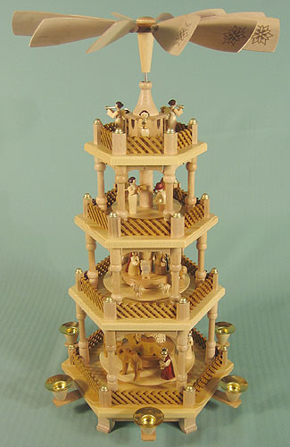 Nativity Christmas Pyramid Natural 4 Level