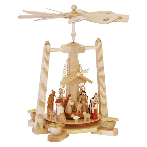 Natural Nativity Christmas Pyramid