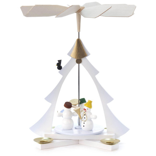 Snowmen Tree German Pyramid - White with trumpetting snowmen