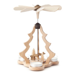 Tree Shape Pyramid with Hand Carved Deer Natural Carousel PYZ085X546R