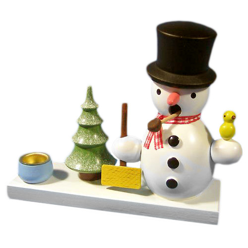 Mini Snowman German Smoker Candleholder