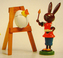 Bunny Artist Chick Figurine