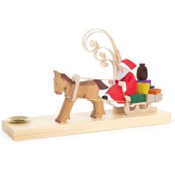 Carved Santa Pony Sleigh Candleholder