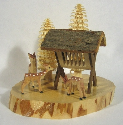 Fawns Deer Feeding Hand Carved German Figurine