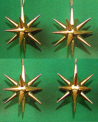 Four Gold Pointy Stars Ornaments