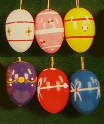 Six Colorful Merry Eggs Ornaments