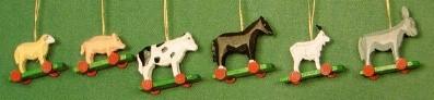 Six Farm Animal Ornaments