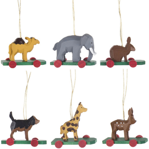 Six Wild Animals Wheels German Ornaments
