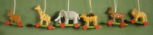 Six Wild Animals Wheels Ornaments