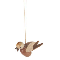Wooden Natural Bird German Ornament