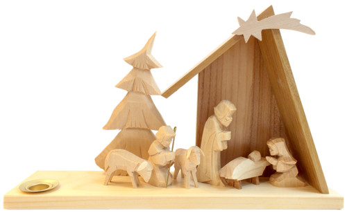 Hand Carved Nativity German Candleholder