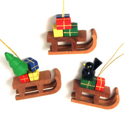 Christmas Sled German Ornaments three