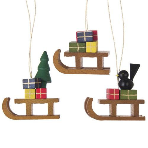 Christmas Sled German Ornaments three