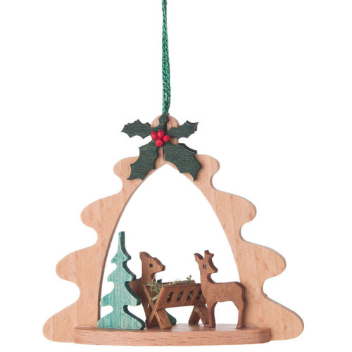 Deer Feeding Tree Frame Ornament