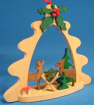 Deer Feeding Tree Frame Ornament