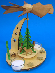 Forest Deer Star Pyramid TeaLight Candles PYD085X468