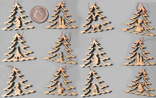 Mini Wooden Christmas Tree German Ornaments
