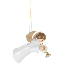 Ornament Angel White Gown Trumpet