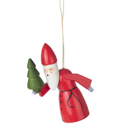 Santa Carrying Tree German Ornament