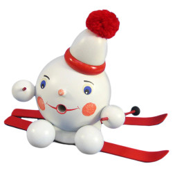 Snowball Snowman Red Skis German Smoker