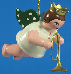 Trumpet Angel Crown Christmas Ornament