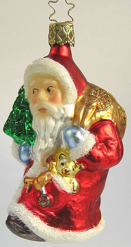 Heirloom Midnight Santa Carrying Tree Bag Ornament