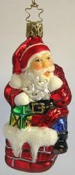 Heirloom Midnight Santa Carrying Lantern Ornament