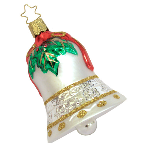 Holly Bow Bell German Ornament ORGB152X05