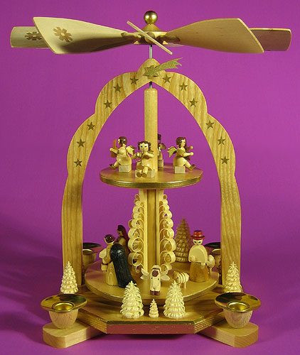 Arched 2 Level Nativity Pyramid Angels