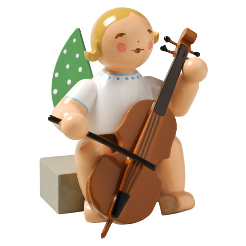Blonde Angel Cello Figurine Wendt Kuhn Sitting FGW650X7A