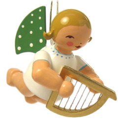 Flying Angel Playing Harp Ornament ORW650X130SMH