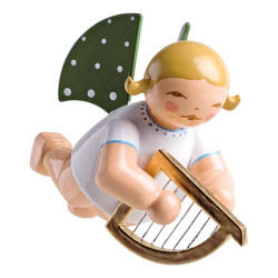 WENDT & KÜHN Flying Angel Playing Harp Ornament