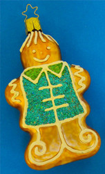 Gingerbread Glass Christmas Ornament