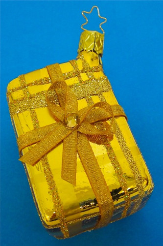 Gift Box Gold Glass Christmas Ornament