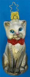 Christmas Grey Kitten Glass German Ornament