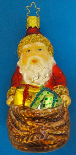 Santa Sack Toys Glass Christmas Ornament