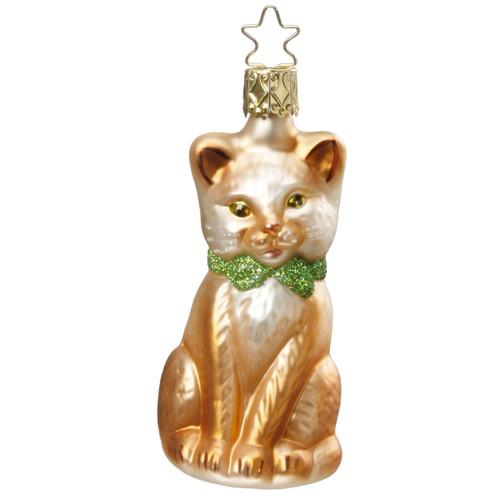 Christmas Brown Kitten Glass Christmas Ornament