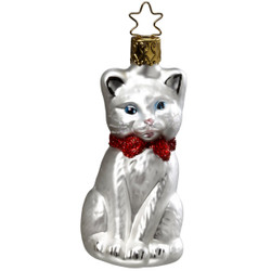 Christmas White Kitten Glass Ornament