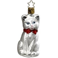 Christmas White Kitten Glass Ornament