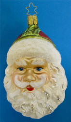 Santa Smiling Glass Christmas Ornament