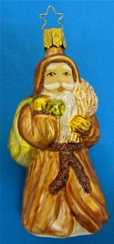Woodland Golden Santa Glass Christmas Ornament
